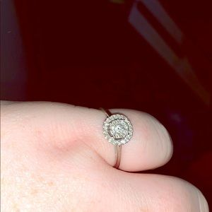 14k white gold diamond ring. Size 10